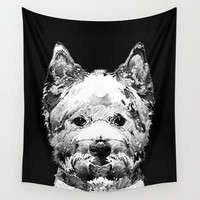 Black And White West Highland Terrier Dog Art Sharon Cummings Wall Tapestry by Sharon Cummings
