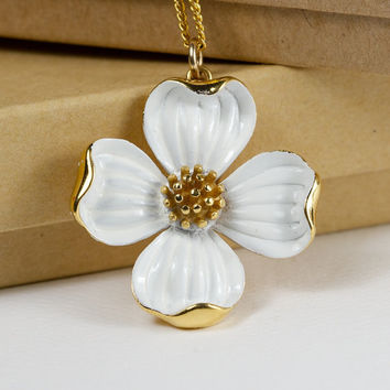 Trifari Dogwood Flower Enamel Brooch Pendant by TwiceBakedVintage