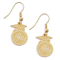 EMBLEM DROP EARRINGS GOLD/