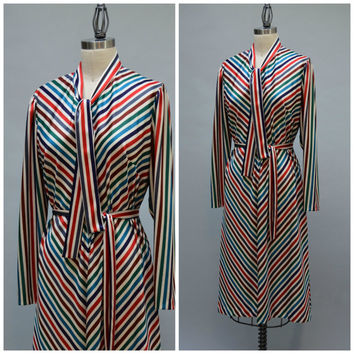 70s Striped Qiana Belted Dress - Vintage Seventies Diagonal Stripe Tie Collar Silky Poly Knit Secretary Dress Size M - L Medium to Large