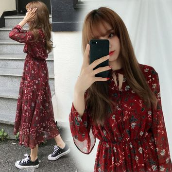 Autumn Korean Vintage Style Floral Print Women Bandage Dress Japanese Vintage Chiffon Long Dresses Ladies Elegant Bohemian Dress