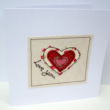 Valentine's Day Card with Embroidered Heart - Handmade Greeting Card - Wedding Anniversary Card