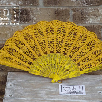 Crochet HAND FAN in Yellow, Wedding Accessory, Bride Bouquet, Photo prop, Made in USA