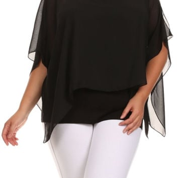 Dressy Layered Flutter Sleeve Chiffon Blouse