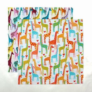 Kids Cloth Napkins Reusable Lunch Napkins School Lunchbox Napkins Giraffe