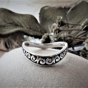 Sterling Silver 5mm Curved Oxidized Swirl Design Band Ring Enhancer Size 9