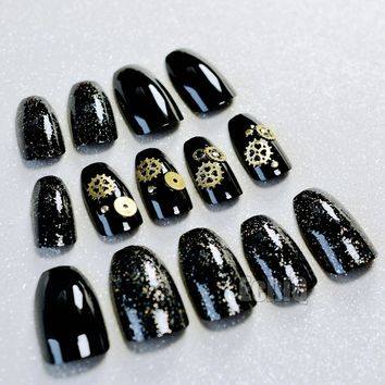 24pcs Black Color Ballerina False Nail Art Tips 3D Rivets Long Full Wrap Coffin Acrylic Fake Nails For Nail Decoration Z909