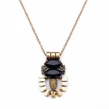 Trendy Gold and Black Pendant Necklace