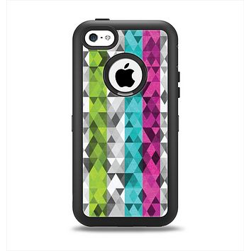 The Trendy Colored Striped Abstract Cube Pattern Apple iPhone 5c Otterbox Defender Case Skin Set