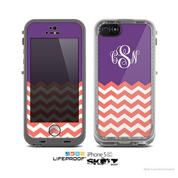 The Coral & Purple Chevron Custom Monogram Skin for the Apple iPhone 5c Fre LifeProof Case