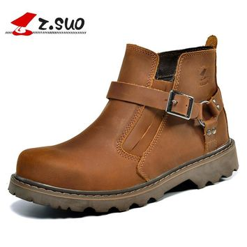 Z.SUO 2016 High Quality Genuine Leather Upper Rubber Outsole Men's Martin Boots Brown Slip On Style Male Ankle Boots ZS337