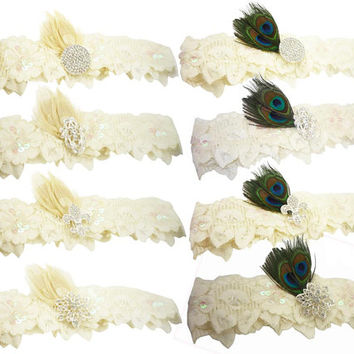 Bridal Garter - Design your Own- Rhinestone Custom Ivory White Wedding Garter Belt Set for the Bride in Lace