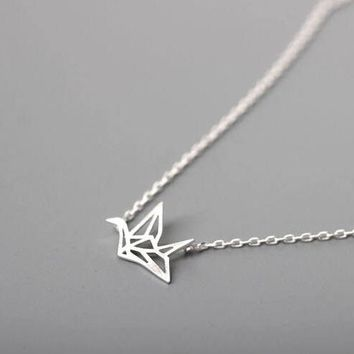 Jisensp New Fashion Friendship Handmade Necklace Lovely Origami Crane Necklaces for Women Cute Bird Long Chain Necklaces Gifts