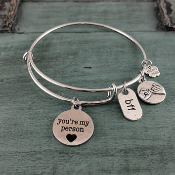 You're My Person, Bangle Charm bracelet, Handmade Jewelry, Charm Bracelet, Custom Made Jewelry, Gift for her