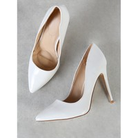 Patent Pointy Toe Stiletto Heels WHITE