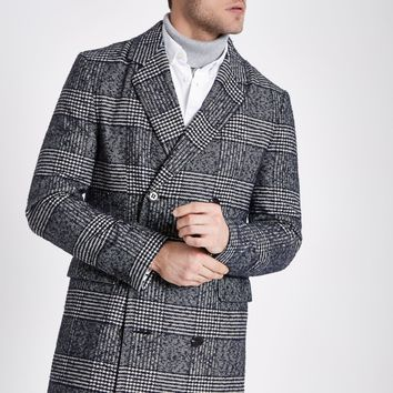Grey check double breasted smart coat - Coats - Coats & Jackets - men