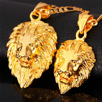 Hip Hop Gold Necklace Men Women Jewelry Figaro Chain Vintage Platinum 18K Real Gold Plated Big Lion Head Pendant Necklace P215