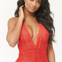 Sheer Scalloped Lace Teddy