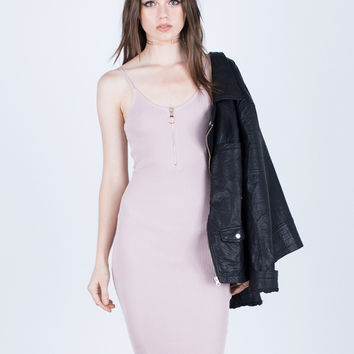 Circle Zippered Bodycon Dress