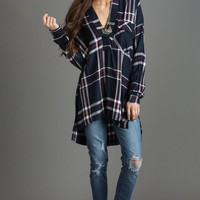 Hayden Navy and Burgundy Plaid Blouse by LUSH