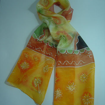 Hand painted silk scarf. Batik, Orange, yellow, green, black, for her, unique piece, hand painted silk scarf. OOAK