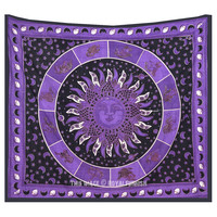 Queen Purple Celestial Zodiac Sign Burning Sun Tapestry Wall Hanging Bedding on RoyalFurnish.com