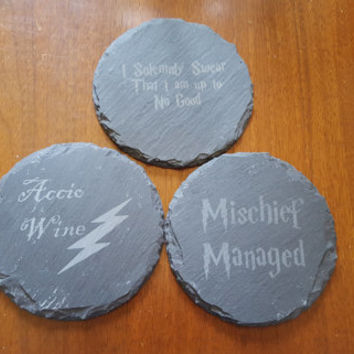 Set of FOUR Harry Potter Inspired Coasters ~ Geeky Decor ~ Mischief Managed ~ Accio Wine  ~ I Solemnly Swear That I'm Up To No Good