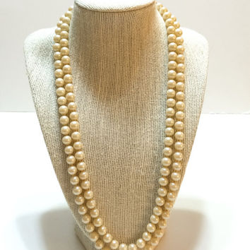 Pearl Necklace, Hand Knotted Necklace, Sterling Filigree Clasp, Double Strand, Opera Length, 1930s, Vintage Jewelry