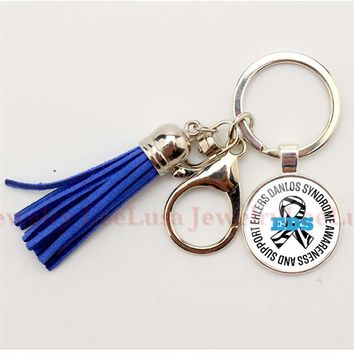 Ehlers Danlos Type Medical Alert Picture Glass Domekeychain  EDS Awareness Charm Tassel Keychain Silver Keyring Llavero