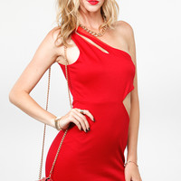 One Shoulder Double Strap Body Con Dress