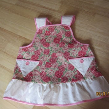 Little Girl's Vintage Rose Apron Pinafore with Ruffle size 3/4