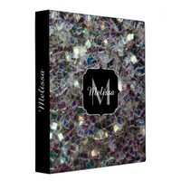 Sparkly colourful silver mosaic Monogram 3 Ring Binders