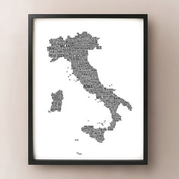 Italy Typography Map - Italia Font Map Art - Choose color and size