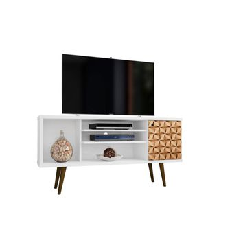 "Liberty 53.14"" Mid Century - Modern TV Stand with 5 Shelves and 1 Door, White and Brown"