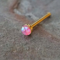 Pink Opal Rose Gold Nose Bone Rose Gold Nose Stud Nose Ring