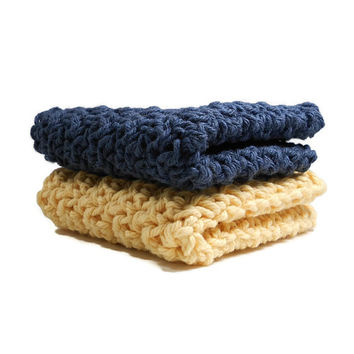 Crochet  Navy Blue and Yellow Dishcloth, Washcloth Set of 2 Cotton Dish Rags, Dish Cloth, Wash Cloth