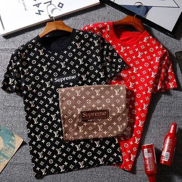 Lv X Supreme Women Man Casual Print Sport T Shirt Top Tee