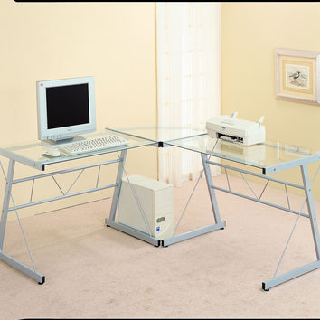 Black Metal L Shaped Computer Desk With Tempered Glass