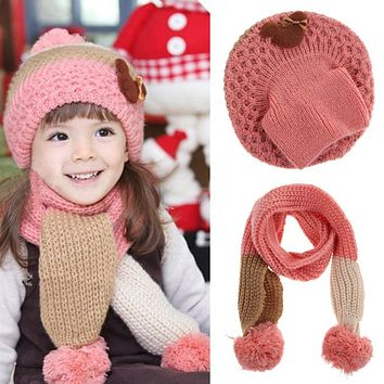 2 PCs set Winter Fashion Baby Girl Boy Hat Scarf Set Cute Children Warm Knitted Wool Cap Scarf Kids Crochet Hats Sullies Beanies