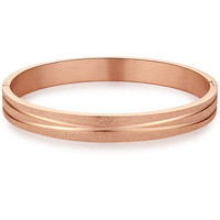 Stainless Steel Sparkle Finish Bangle Bracelet (Rose-gold Color)