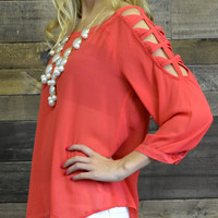 Cold Shoulder Red Chiffon Cut Out Top