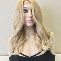 "Light Balayage Blond Human Hair Blend Parting lace front wig 18"" - Fallon"