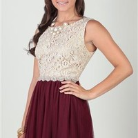 tank strap dress with lace bodice and stone applique waist