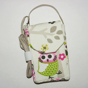 iPhone Smartphone Evo Droid Cell Phone iPod Case Mini Purse Pouch Vertical Cross Body Strap: Owls Pink Green Black White Cream Taupe