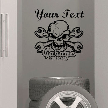 Wall art Custom Garage name established year Vinyl wall Decal sticker decor skull crossbone wrench mechanics tool box snap-on