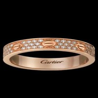PEAP1 Cartier' Stylish Unisex Three Rows Of Drill Diamond Ring Stars Couple Ring Accessories