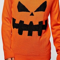 Halloween Pumpkin Crew Neck Jumper | Boohoo