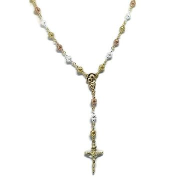 "FILIGREE VIRGEN MARY AND JESUS 18K GOLD PLATED 24""L ROSARY"