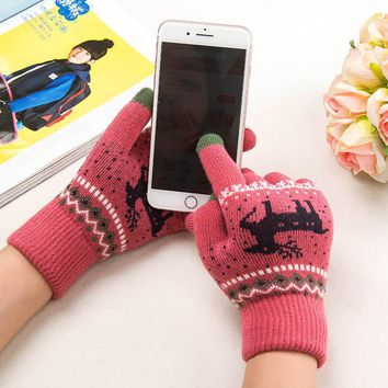 Women Knitted Gloves Ladies Winter Warm Mittens Touchable Screen Winter Gloves Female Stretch Animal Print Knitted Gloves Womens