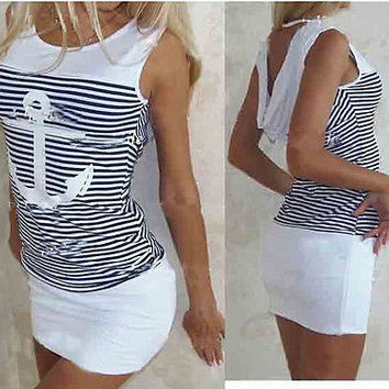 Fashion Design Girls Summer Women Dress Anchors Robe Sexy Package Hip Striped Bandage Dress Women's Casual Clothes Hot Sale